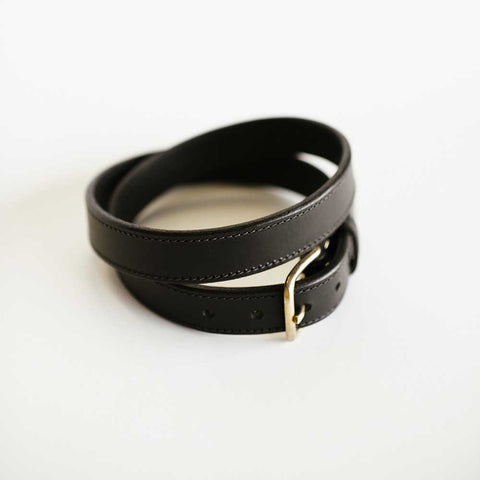 Traditional Stitched Black Bridle Belt