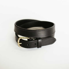 Narrow Stitched Black Belt