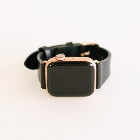 Black Apple Watch Strap 40mm Rose Gold