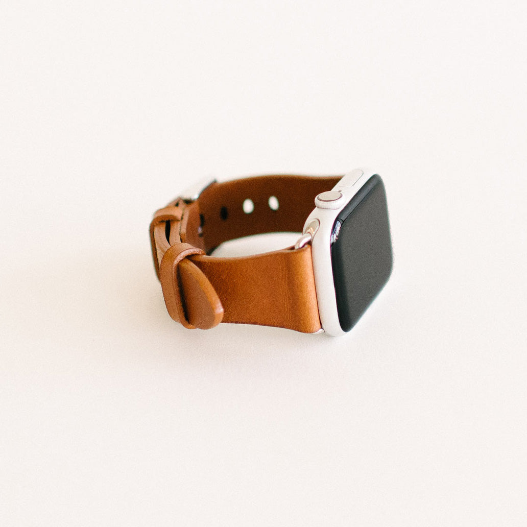 Chestnut Apple Watch Strap 40mm Silver