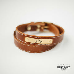 Leather Nameplate Belt with Brass Nameplate