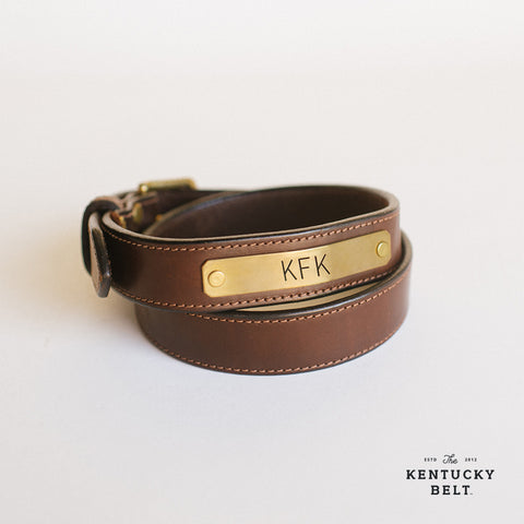 Brown Leather Belt with Brass Nameplate