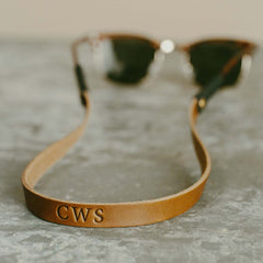 Leather Monogram Sunglass Strap on Ray Bans