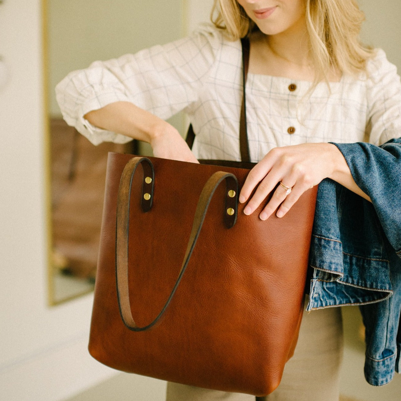 Small Batch Tumbled Chestnut Tote