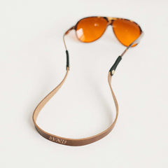 Aviator Sunglass with Monogrammed Leather Sunglass Strap