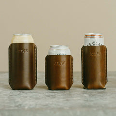 Leather Koozies for Beer, Seltzer and Tall Boy Beer Cans