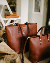 Large Tumbled Chestnut Zip Tote