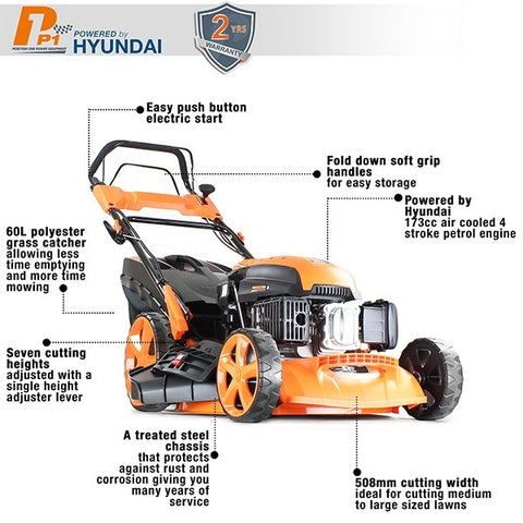 petrol lawn mower with adjustable cutting heights