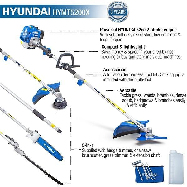 Hyundai HYMT5200X Petrol Garden MULTI TOOL 5in1 Grass & Hedge Trimmer Strimmer Pole saw - HWB Car Parts