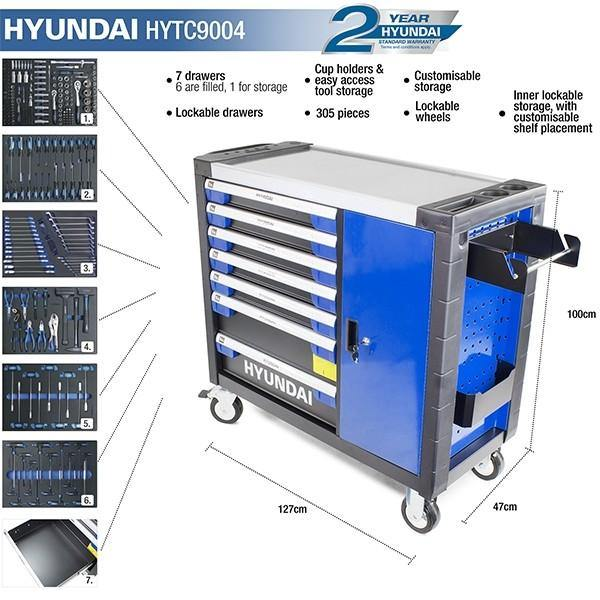 Hyundai HYTC9004 305 Piece 7 Drawer Caster Mounted Roller Premium Tool Cabinet With XXL Stainless Steel Top - HWB Car Parts