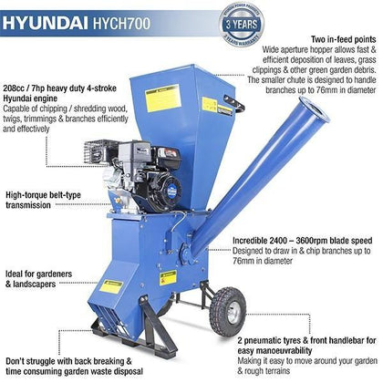 Hyundai HYCH700 208cc 76mm Petrol 4-Stroke Garden Wood Chipper Shredder Mulcher - HWB Car Parts