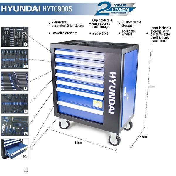 Hyundai HYTC9005 298 Piece 7 Drawer Caster Mounted Roller Tool Chest Cabinet