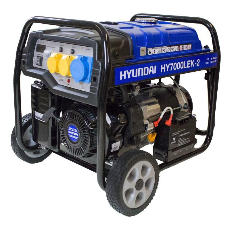 Refurbished Hyundai HY7000LEK-2 5.5kW / 6.8kVa* Recoil & Electric Start Site Petrol Generator