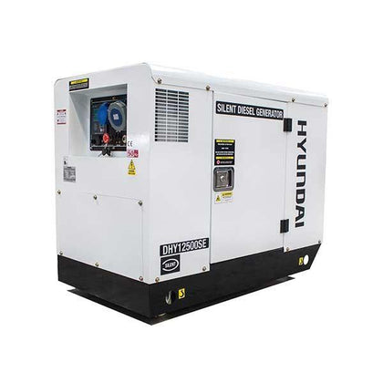 Hyundai DHY12500SE 10kW/12.5kVA 230v Single Phase 3000rpm Mains Standby Silenced + Air Cooled Diesel Generator - Free Oil Included - HWB Car Parts