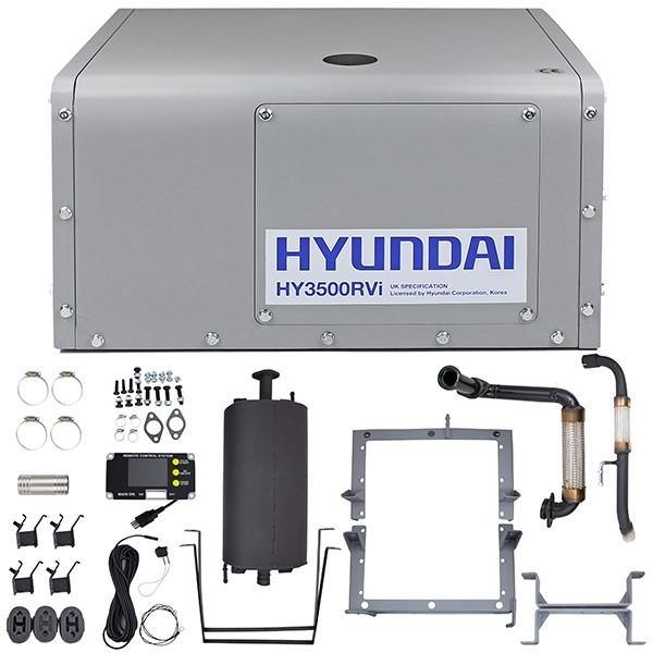 Hyundai HY3500RVi Low Noise Low Vibration 3.5Kw Underslung Motorhome RV Inverter Generator 230V~50Hz - Full Installation Kit