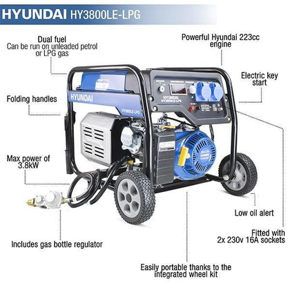 Hyundai HY3800LE-LPG 3.2kW / 4.00kVa* Electric Start Dual Fuel Site Petrol Generator - HWB Car Parts