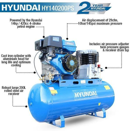 Hyundai HY140200PS 29CFM, 14HP, 200 Litre Twin Cylinder Belt Drive Petrol Engine Air Compressor - HWB Car Parts
