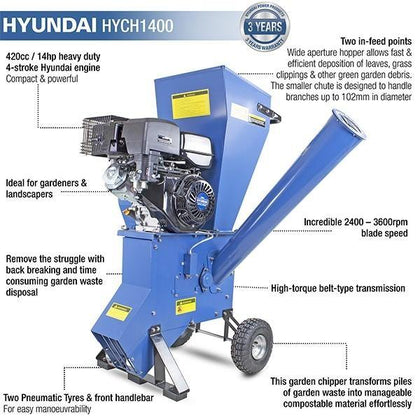 Hyundai HYCH1400 420 cc 102mm Petrol 4-Stroke Garden Wood Chipper Shredder - HWB Car Parts