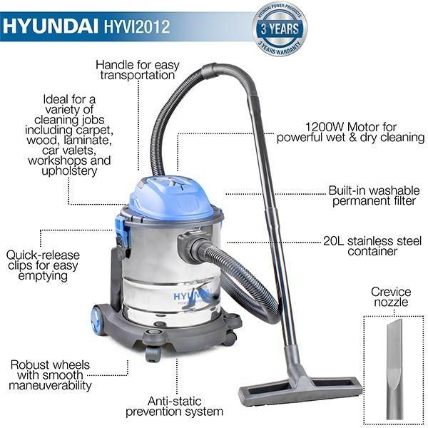 Hyundai HYVI2512 1200W 3 IN 1 Wet & Dry Electric Vacuum Cleaner 230v