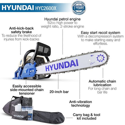 "Hyundai HYC6200X 62cc 20"" Petrol Chainsaw, 2-Stroke easy-start - HWB Car Parts"