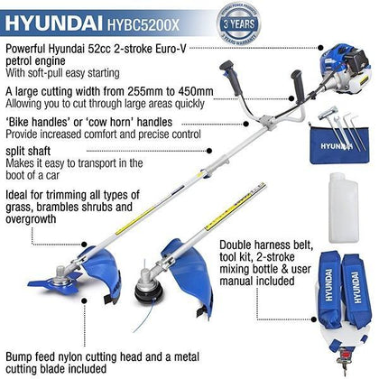 Hyundai HYBC5200X 52cc Petrol Grass Trimmer / Strimmer / Brushcutter - HWB Car Parts