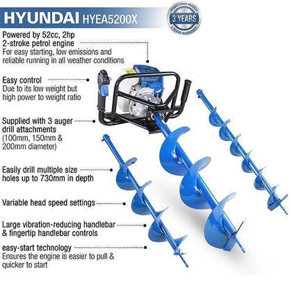 Hyundai HYEA5200X 2-Stroke Petrol Earth Auger / Borer / Drill - HWB Car Parts