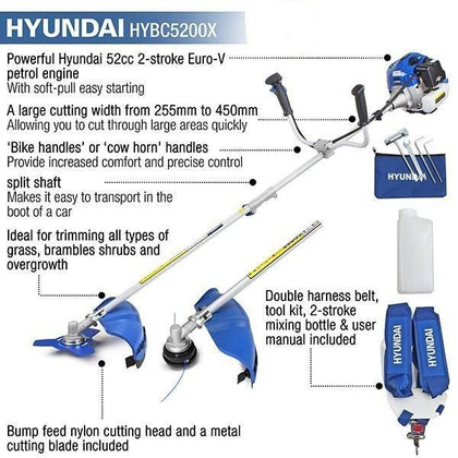 Refurbished Hyundai HYBC5200X 52cc Petrol Grass Trimmer / Strimmer / Brushcutter - HWB Car Parts