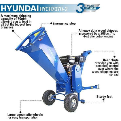 Hyundai HYCH7070-2 7hp 208cc Wood Chipper - HWB Car Parts