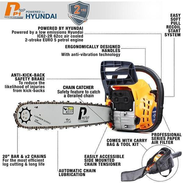 "P1PE P6220C 62cc / 20"" Petrol Chainsaw (Powered by Hyundai) - HWB Car Parts"