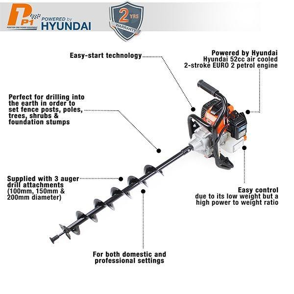 Hyundai P1PE P5200EA 52cc Petrol Earth Auger / Borer / Drill - HWB Car Parts