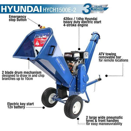 Hyundai HYCH1500E-2 420cc Petrol 4-Stroke Wood Chipper/Shredder/Mulcher - HWB Car Parts