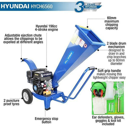 Hyundai HYCH6560 196 cc 60mm Petrol 4-Stroke Garden Wood Chipper Shredder - HWB Car Parts