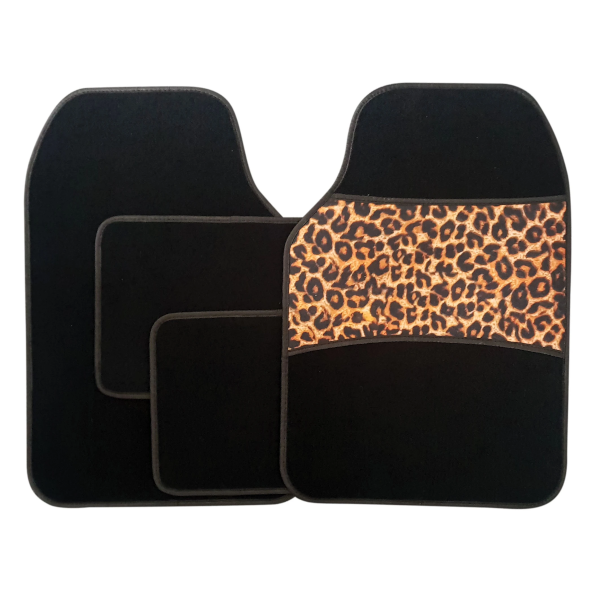4 Piece Leopard Print Carpet Mat Set - HWB Car Parts