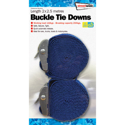 Tie Down Straps Pair 2.5m - HWB Car Parts
