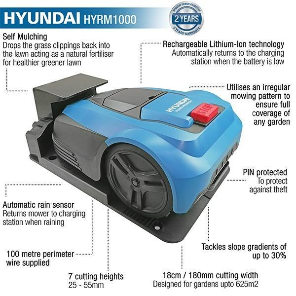 Hyundai HYRM1000 240V 50W Ultra Quiet Robotic Lawn Mower - HWB Car Parts