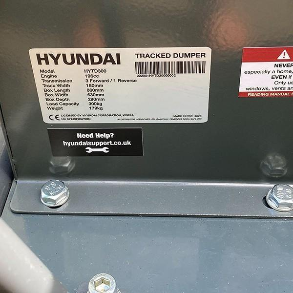 Hyundai HYTD300 196cc Petrol 300kg Payload Tracked Mini Dumper / Power Barrow / Transporter