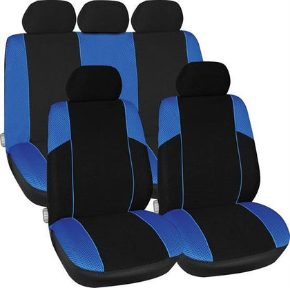 Arizona Seat Cover Set - Black & Blue - HWB Car Parts