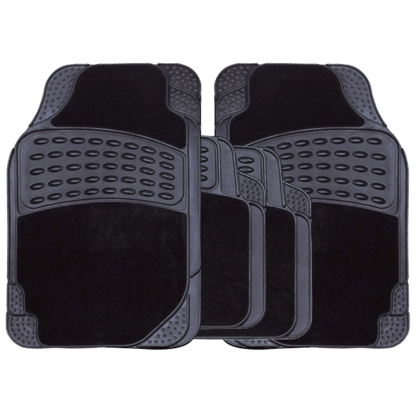 Black Rubber & Carpet Car Mat Set - HWB Car Parts