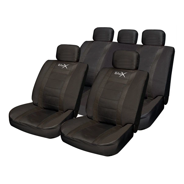 Colorado Leather Look Seat Cover Set - Black - HWB Car Parts