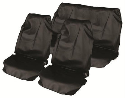 Water Resistant Nylon Car Seat Cover Set - Black - HWB Car Parts