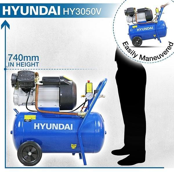 Hyundai HY3050V 3HP, 50 Litre V-Twin Air Compressor 14CFM - HWB Car Parts