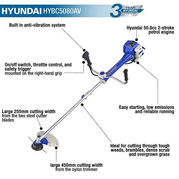 Hyundai HYBC5080AV 50.8cc Anti-Vibration Grass Trimmer / Brushcutter