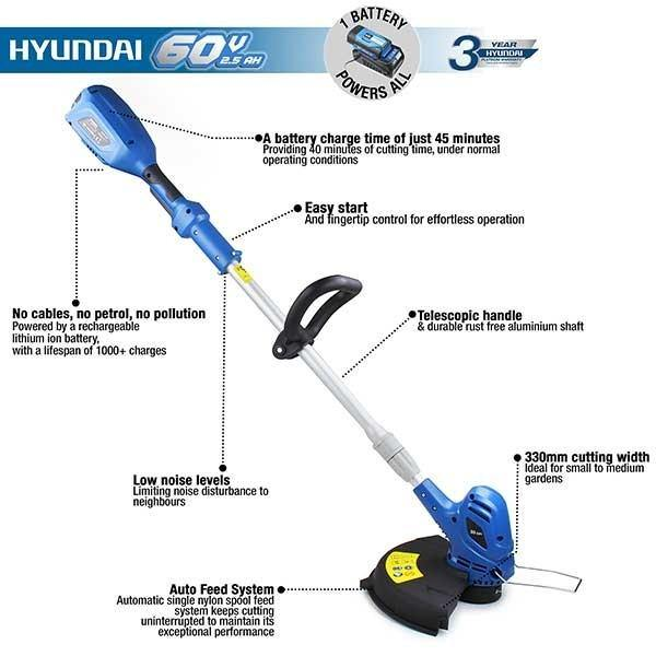 Hyundai HYTR60LI 60v Lithium-ion Cordless Grass Trimmer