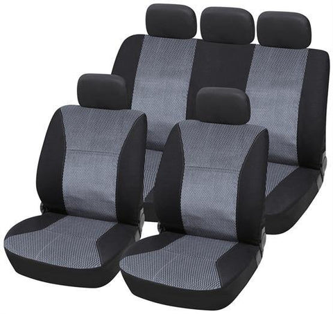 Jacquard Material Seat Cover Set - Grey/Black