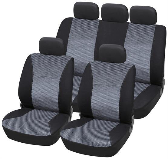 Grey & Black Jacquard Material Seat Cover Set - HWB Car Parts