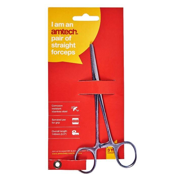 "Amtech 5 1/2"" Straight Forceps"