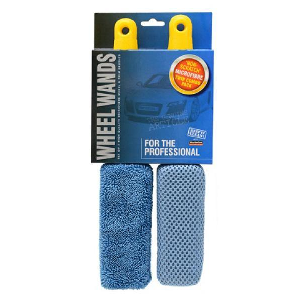 Trade Quality Microfibre Twin Pack Wheel Brush Set - HWB Car Parts