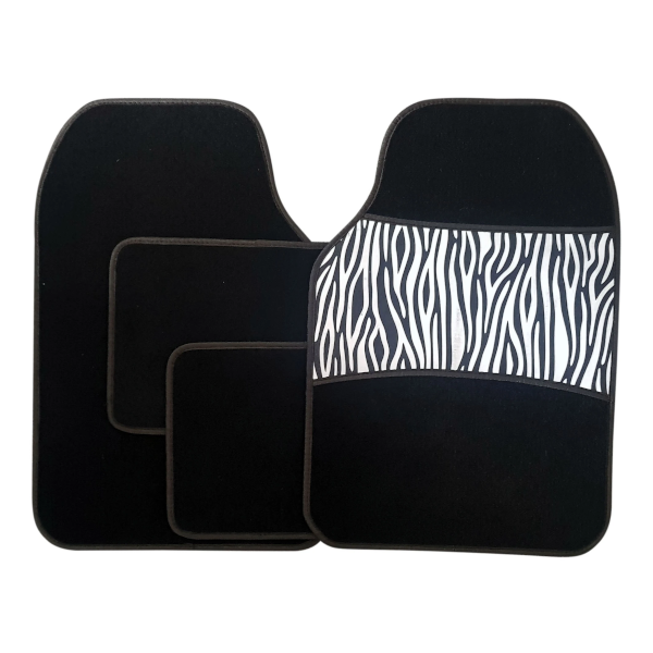 4 Piece Zebra Car Print Mat Set