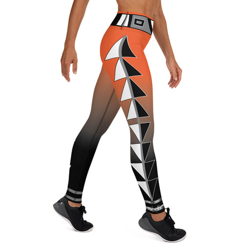 Centered Orange and black fade Yoga Leggings
