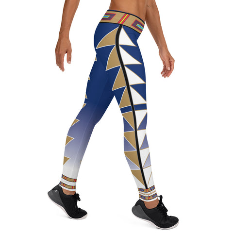 Centered Blue and Gold Fade Leggings